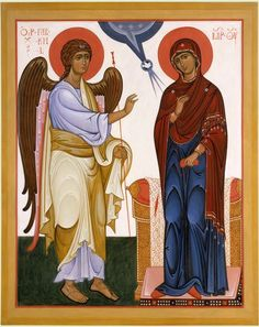 A modern Orthodox icon of the Annunciation painted in the Russian school. This icon represents one of the best schools of modern iconography. Religious Icons, Religious Art, The Annunciation Painting, Angelus, Church Icon, Noli Me Tangere, Roman Church, Paint Icon, Images Of Mary