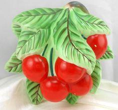 Vintage Lefton 3D Wall Pocket Cherries