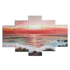 Waves Washing the Beach Oil Painting - Set of 5