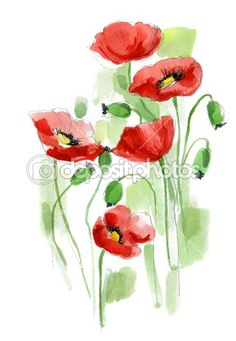 Floral summer design with hand-painted abstract flowers Watercolor Flowers Tutorial, Watercolor Poppies, Watercolor Cards, Watercolor Paintings, Watercolors, Poppies Painting, Red Poppies, Watercolor Tattoo, Arte Do Galo
