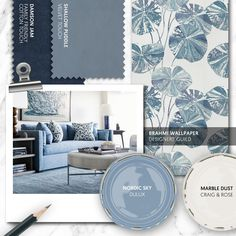 Monday Moodboard - Keep your lounge cool and calm with a palette of pale blue and grey. Add deeper blues and botanical patterns to create interest. Dining Room Blue, Dining Room Colors, Living Room Grey, Living Room Interior, Living Room Decor, Mood Board Interior, Blue Lounge, Beautiful Sofas, Lounge Decor