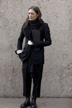 on the street before Rick Owens show, Paris