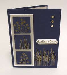 StampinUp card in navy blue with gold embossing...luv the silhouette images...
