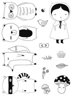 Embroidery Pattern Woodland Friends Stamps by Danita - Original Art Stamps Embroidery Patterns, Hand Embroidery, Stencil, Doodles, Woodland Creatures, Art And Illustration, Digi Stamps, Felt Crafts, Paper Dolls