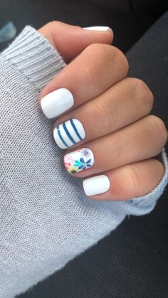 white and blue nail polish, floral manicure, trending nail colors, short square nails, grey sweater spring nails ▷ 1001 + ideas for nail designs suitable for every nail shape Pretty Nail Designs, Nail Designs Spring, Nail Art Designs, Short Nail Designs, Nail Design For Short Nails, Best Nail Designs, Shellac Nail Designs, Pedicure Nail Designs, Flower Nail Designs