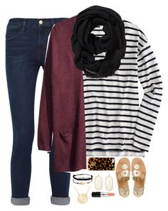 """""""#ootd Going to a party"""" by thedancersophie ❤ liked on Polyvore featuring moda, Jack Rogers, J.Crew, Frame Denim, H&M, Old Navy, Pura Vida, Tory Burch, Kendra Scott i MAC Cosmetics"""