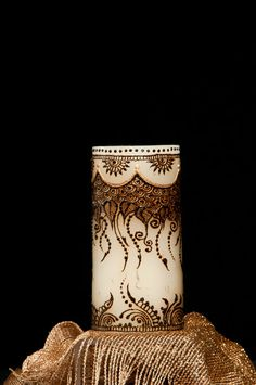 """3""""X6"""" Ivory unscented candle Hand Crafted with natural henna, acrylic paint and gems on Etsy, $30.00"""