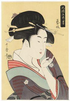 "Japanese Ukiyo-e Woodblock print Utamaro Shades of Ink in the Northern Quarte Courtesan"" Japanese Artwork, Japanese Prints, Japan Painting, Arte Pop, True Art, Orient, Japan Art, Japanese Culture, Woodblock Print"
