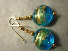 Murano glass earrings aqua blue green and gold discs with