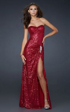 Strapless Sequin Embellished Evening Gown Fuchsia | StyleCaster