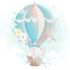 Cute Cartoon Elephant And Balloons Illustration Cartoon Airplane, Cartoon Elephant, Little Panda, Little Kitty, Little Elephant, Cute Elephant, Colorful Drawings, Cute Drawings, Ballon Illustration