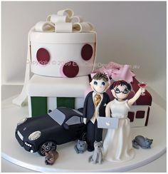 lifestyle wedding cake a funky couple bride
