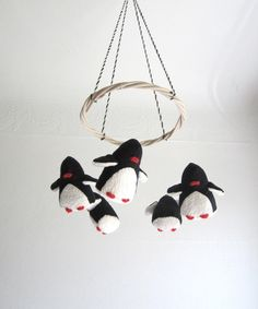 baby crib mobile penguins baby black white nursery by pingvini
