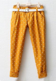 ++ Yellow Polka Dot Low Waist Cotton Pants