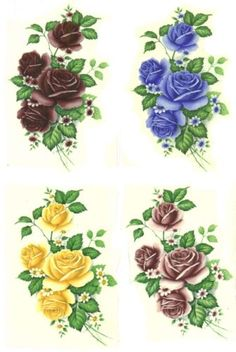 Rose-Blue-Burgundy-Pink-Yellow-Flower-Select-A-Size-Waterslide-Ceramic-Decals-Bx