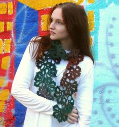 Colorful crochet scarf Green Red scarf Eco wool scarf Neck warmer Multocolor scarf Gradient wool scarf Lace scarf Wool wrap Womens accessory