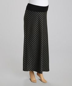 Take a look at this Black & Charcoal Diagonal Stripe Maternity Maxi Skirt - Women by Mom & Co. on #zulily today!