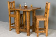 The Barnwood pub chair is a great option to complete the barnwood pub table set. The barnwood pub chairs match perfectly to the barnwood pub table or barnwood bar. These chairs are made from two inch thick rough sawn timbers. Pub Table And Chairs, High Dining Table, High Top Tables, Pub Tables, Dining Chairs, Top Table Ideas, Bar Table Sets, Bar Height Table Diy, Log Cabin Furniture