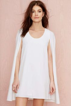 Nasty Gal Catherine Cape Dress - Ivory