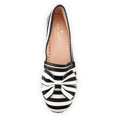 kate spade new york linds striped bow espadrille flat, black/white ($175) ❤ liked on Polyvore featuring shoes and flats
