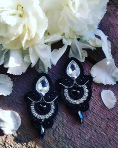 Shibori, Black Earrings, Soutache Jewelry, Elegant, Silver, Handmade, Instagram, Black Stud Earrings, Classy