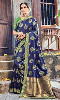Shop #Blue #Silk Embroidered #WeddingWear #Saree (SKU Code : SAEBRVSAA703) Online at IshiMaya Fashion