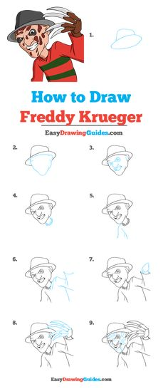 Learn to draw Freddy Krueger from Nightmare on Elm Street. This step-by-step tutorial makes it easy. Kids and beginners alike can now draw a great Freddy Krueger from Nightmare on Elm Street. Drawing Cartoon Characters, Horror Movie Characters, Character Drawing, Freddy Krueger Drawing, Cartoon Drawing Tutorial, Drawing Tutorials, Drawing Techniques, Drawing For Beginners, Beginner Drawing