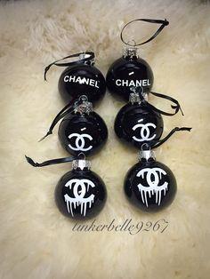 Chanel CC Christmas Ball Glass Ornament Set by ChooseClassy