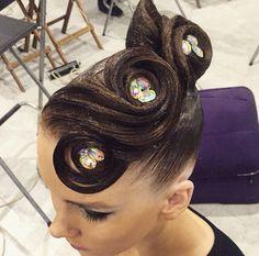 I love this hairstyle! Latin Hairstyles, Braided Hairstyles Updo, Retro Hairstyles, Updo Hairstyle, High Bun Hair, Hair Buns, Dance Competition Hair, Ballroom Dance Hair, Bleached Hair Repair