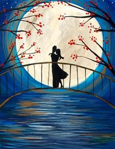 The moon is glowing ever so bright this evening, and you are walking with your love. The bridge, the stars in the sky, the reflection of the light on the water has made this night so oh so magical!
