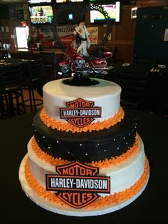 buttercream icing with fondant accents Harley Davidson wedding cake
