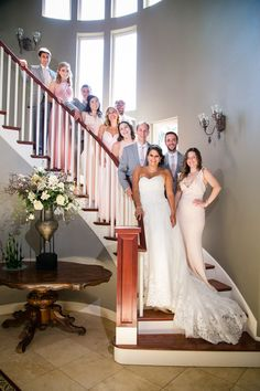 Wedding party on staircase  Tacoma Wedding Photography