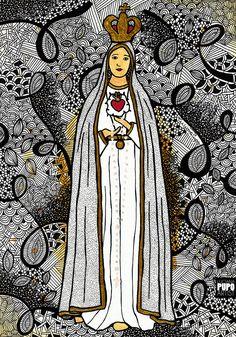 Nossa Senhora De Fátima pela artista Luciana Pupo - INSTAGRAM @lucianapupoart Blessed Mother Mary, Blessed Virgin Mary, Catholic Wallpaper, Art Diary, Mama Mary, Jesus Art, Holy Mary, Jesus Pictures, Catholic Art