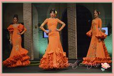 #Trajesflamenca en naranja con bordados en oro de la coleccion 'Solo pensando en ti' de Eloy Enamorado en #Wappissima2015