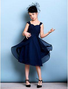 Junior Bridesmaid Dress Knee-length Chiffon A-line Straps Dress – CAD $ 97.29