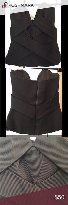 NWOT Camilla and Marc Strapless Bustier Top Size 4 Never worn, pristine condition. Top is underwired and has a fitted waist. Light padding and pleat detailing at bust. Exposed  gold-tone zip throughout back and is fully lined. Retails for $460. camilla & marc Tops