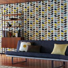 Orla Kiely Sea Green Muti Stem Wallpaper. Buy in Australia. It is a contemporary wallpaper with a retro touch. This very popular wallpaper is printed on non-woven paper. Colour:- Seagreen Wallpaper type:- Non-woven Roll:- 52cm x 10m  Vertical Pattern Repeat:- 53.7cm Match:- Straight