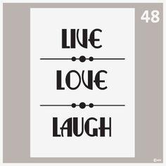 Poster met tekst-Tekstposter Live love laugh 48