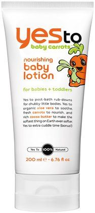 we love this lotion and still use it for our two and half year old son! it smells so good, I use it too / Yes To Nourishing Baby Lotion