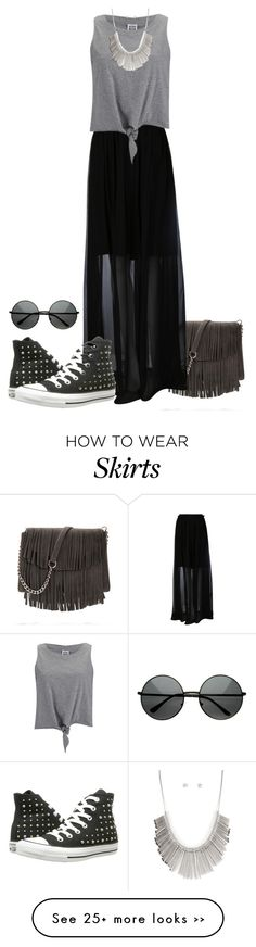 """long black skirt"" by ele88na on Polyvore"
