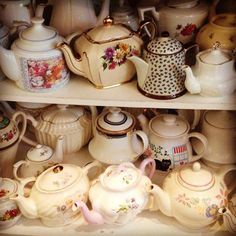 IN NOTTS WE LOVE Thea Caffea's display of vintage teapots