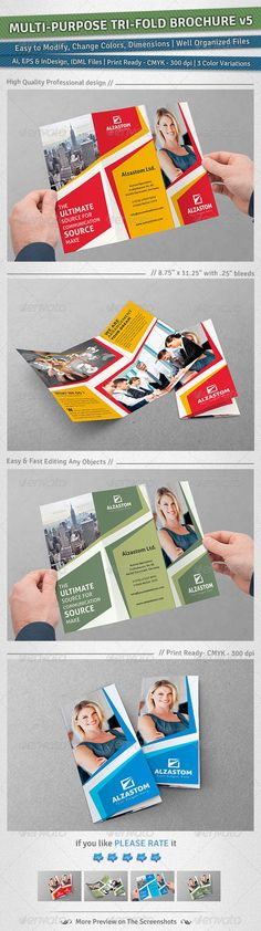 Multipurpose TriFold Brochure   Volume 5 — Vector EPS #financial #capital • Available here → https://graphicriver.net/item/multipurpose-trifold-brochure-volume-5/5039473?ref=pxcr