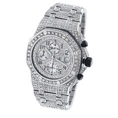 Audemars Piguet Mens Diamond Watch Fully Iced Out Royal Oak Offshore