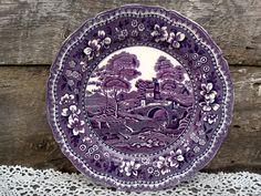 "Antique Purple Transferware DINNER PLATE, W. R. Midwinter Burslem England, ""Old Castle"", Ironstone, English Transferware, Serving by CottonCreekCottage on Etsy"