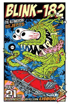 Blink-182 Lisbon Exclusive Kozik Version http://www.frankkozik.net/store