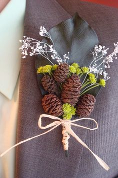 Pinecone Corsage | Single Leaf Pine Cone Boutonniere/Corsage. $12.50, Via  Etsy.