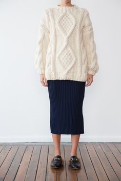 The Angeline is an Aran style Knit oversized jumper featuring a diamond cable…
