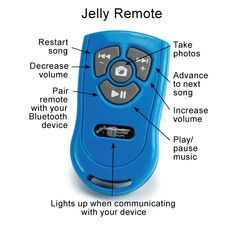 """Square Jellyfish Bluetooth® remote. No more """"selfie"""" pics full of arms and goofy mistakes. No more dropping your device while trying to take a picture. With the Jelly Remote 4-Button, you can take pictures with a simple touch of a remote button. In addition to all of the hands-free photography, the Jelly Remote 4-button also allows you to play/pause your music, skip and restart songs, play movies & TV shows on your media player, and control volume on your Bluetooth smartphone or tablet."""