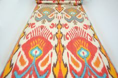 red, yellow, brown, cream, ikat fabric by the yard, table runner, ikat table cloth, upholstery ikat fabric on Etsy, $15.90