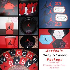 Jumpman Joradn Inspired Baby Shower Package by ccbyshon on Etsy Boy Baby Shower Themes, Baby Shower Games, Baby Shower Parties, Baby Boy Shower, Baby Showers, Jordan Baby Shower, Basketball Baby Shower, Basketball Party, Slumber Party Games